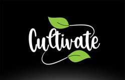 Kultywuje słowo tekst z zielonym liścia logo ikony projektem royalty ilustracja