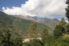 Kulu Valley. Mountains. View from the Vashisht. Royalty Free Stock Photo