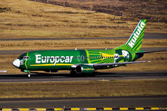 Kulula Airways - Boeing 737-4S3 - ZS-OAO - takeoff. One of only three of a series of aircraft painted with individual livery to represent the Europcar Stock Photo