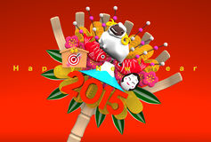 2015 Kumade Ornament, Greeting On Red. 3D render illustration For The Year Of The Sheep, 2015 In Japan. For New Year Greeting Postcard. Isolated On Red royalty free illustration
