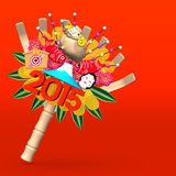 2015 Kumade Ornament On Red Text Space. 3D render illustration For The Year Of Sheep,2015. On Red Background stock illustration