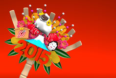 2015 Kumade Ornament On Red Text Space. 3D render illustration For The Year Of The Sheep,2015 In Japan. For New Year Greeting Postcard. Isolated On Red vector illustration