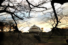 KUMAMOTO - 16 ΔΕΚΕΜΒΡΊΟΥ: Τοπίο του κάστρου Kumamoto, μια κορυφή υψώματος Japa Στοκ Εικόνες