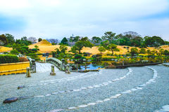 Kumamoto, Япония 13-ое января: Парк Suizenji в вечере в Kumamoto Стоковая Фотография RF