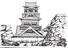 Kumamoto castel. Free hand sketch World famous : Kumamoto castle Japan Royalty Free Stock Image