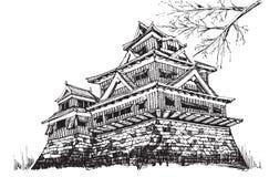 Kumamoto castel. Free hand sketch World famous : Kumamoto castle Japan Stock Photography