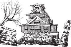 Kumamoto castel. Free hand sketch World famous : Kumamoto castle Japan Stock Photos