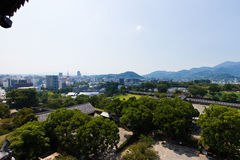 Kumamoto Castle top view in Kumamoto Japan. Kumamoto,Japan - May 2, 2014: Kumamoto Castle is a hilltop Japanese castle located in Chūō-ku, Kumamoto in Kumamoto Royalty Free Stock Images