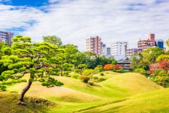 Kumamoto City, Japan Gardens. And skyline Stock Photography