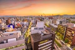 Kumamoto City, Japan Skyline. Kumamoto City, Japan downtown skyline from above at dusk Royalty Free Stock Photography