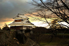 KUMAMOTO - DEC,16 : Landscape of Kumamoto castle, a hilltop Japa. Nese castle located in Kumamoto Prefecture on the island of Kyushu.The main castle was damaged Royalty Free Stock Images