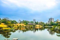Kumamoto, Japan 13. Januar: Suizenji-Park am Abend in Kumamoto Stockfoto