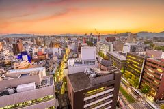 Kumamoto miasta, Japonia linia horyzontu Fotografia Royalty Free