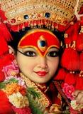 Kumari den bosatta gudinnan i Nepal arkivfoton
