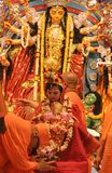 Kumari Puja dans des maths de Belur Photos libres de droits