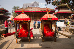 Kumari's chairs, Durbar Square, Kathmandu, Nepal. Stock Photography