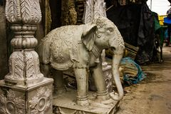 Kumartuli,West Bengal, India, July 2018. A clay statue of a elephant under construction at a shop during day time for sale royalty free stock images