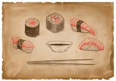 Kumberland i czerwień suszi na folwarczka starym papierze ilustracji