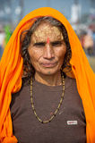Kumbh Mela Festival. Indian women in traditional dress after taking a holy bath in the Ganges River in Allahabad for Kumbh Mela Festival Stock Images