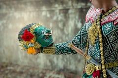 Kumbhakarna e Hanuman Art cultivam a dança de Tailândia em k mascarado imagens de stock royalty free