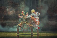 Kumbhakarna-Maske Ramayana-Geschichte Kunst-Kultur Thailand-Tanzen herein Lizenzfreie Stockfotos