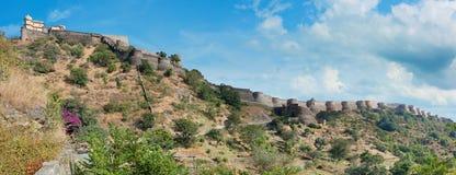 Kumbhalgarh堡垒全景 拉贾斯坦,印度 免版税图库摄影