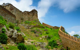 Kumbhalgarh Fort hill. Battlements climbing Kumbhalgarh fort hill, Rajasthan, India Stock Image