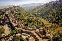 Kumbhalgarh Fort in Rajasthan, one of the biggest fort in India. Kumbhalgarh, Rajasthan, India - November 21 2016: Kumbhalgarh Fort is a Mewar fortress on the Stock Photos