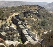 Kumbhalgarth Fort and Walls - Rajasthan - India. The temples and walls of the Mewar Kumbhalgarth Fortress in the Aravalli Hills in Rajasthan in western India Stock Photos