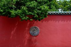 Kumbum修道院-红色墙壁 库存图片