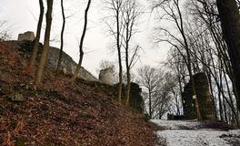 Kumburk - Castle Ruin in Winter. Bohemian Paradise in Czech republic Stock Photo
