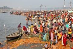 Kumh Mela节日的印度献身者 免版税图库摄影