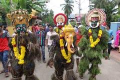 Kummatti Mahotsavam 2016. Traditional Kummatti performers wear colorful wooden masks of various Indian gods during Kummatti Mahotsavam, as they celebrate Onam Royalty Free Stock Photos