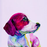 Kumpel portret młody pies, szczeniak w neonowych colours ilustracji