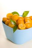 Kumquat. Small orange fruits on white background Royalty Free Stock Photo