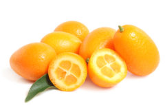 Kumquat with leaf Royalty Free Stock Image