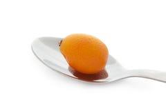 Kumquat op staallepel Stock Afbeeldingen