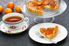 Kumquat tart, homemade dessert. Kumquat, its raw rind is sweet, with the flesh is sour like the lemon royalty free stock image