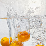 Kumquat and water splashes Royalty Free Stock Image