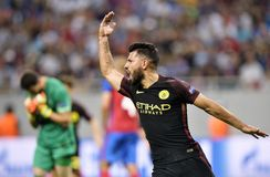 Kun Aguero reaction after scoring a goal Royalty Free Stock Photography