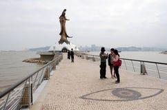 Kun Iam慈悲的雕象女神在澳门 库存图片