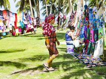 Kuna women, Panama with traditional art works  - Molas Royalty Free Stock Photo