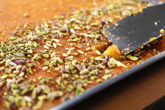 Kunafa. Middle eastern food crunchy buttery melted-cheeesy Royalty Free Stock Photography