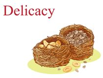 Kunafah z arachidami i słonecznikowymi ziarnami ilustracyjnymi Zdjęcia Stock