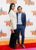 Kunal Nayyar and Neha Kapur. At the Los Angeles premiere of 'Trolls' held at the Regency Village Theatre in Westwood, USA on October 23, 2016 Royalty Free Stock Image