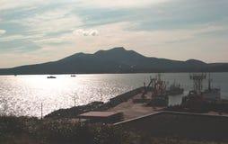 Kunashir island. Wievs ocean and hills stock images