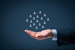 Kund- eller anställdomsorgbegrepp Arkivbild