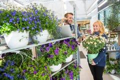 Kund med blomkrukaanseende av blomsterhandlaren Using arkivbilder