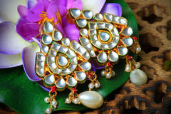 Kundan ear-rings. Beautiful closeup shot of kundan ear-rings stock photos