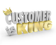 Kunde ist Wort-Kronen-Hauptprioritäts-Service König-3d Stockbild
